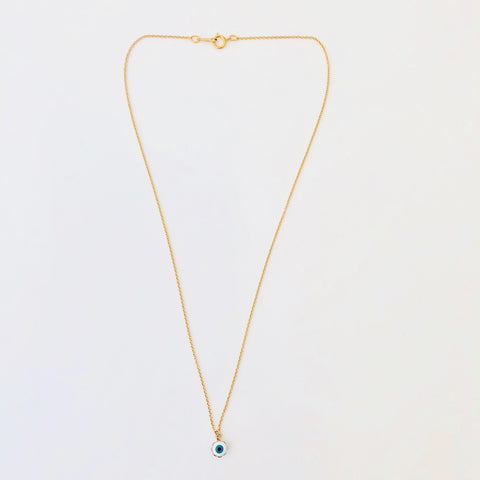 Gold Filled Necklace - Enamel Eye