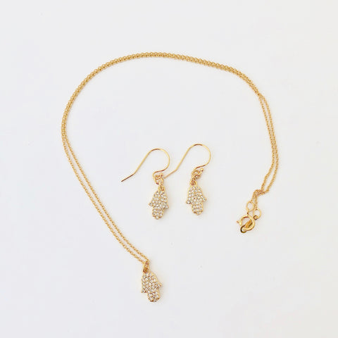 Gold Filled Chain Necklace + Pierce Set - Golden Hamsa
