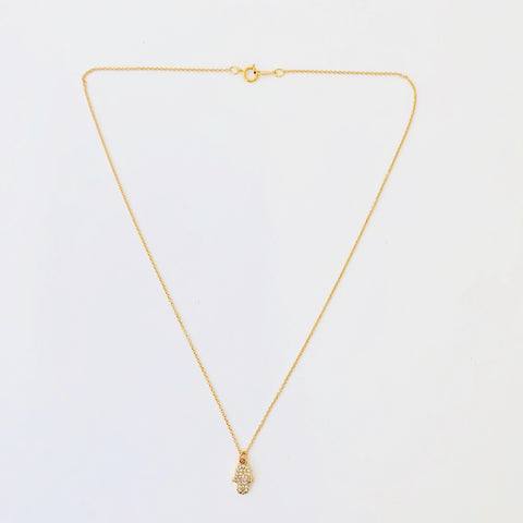 Gold Filled Chain Necklace - Golden Hamsa