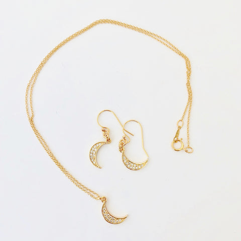 Gold Filled Chain Necklace + Pierce Set - Golden Moon