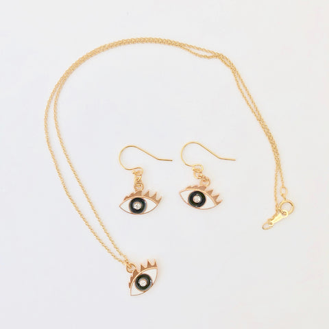 Gold Filled Necklace + Pierce Set - Petit Hamsa
