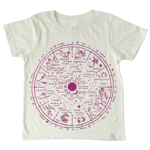 Crew Tee - The Wheel of Life in Pink Foil
