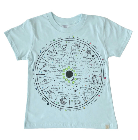 Crew Tee - The Wheel of Life in Blue