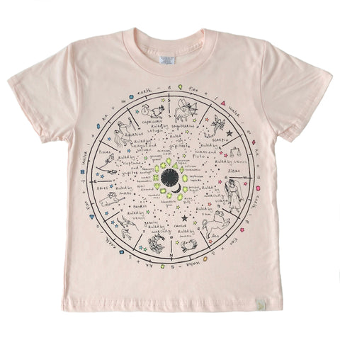 Crew Tee - The Wheel of Life in Pink