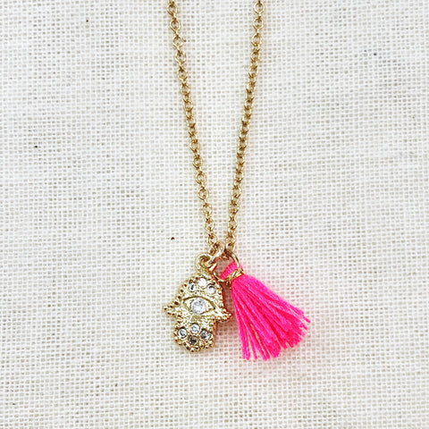 Goldfilled chain Cosmic Hamsa Necklace - single