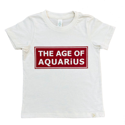 The Age of Aquarius  Crew Tee in Natural/Red