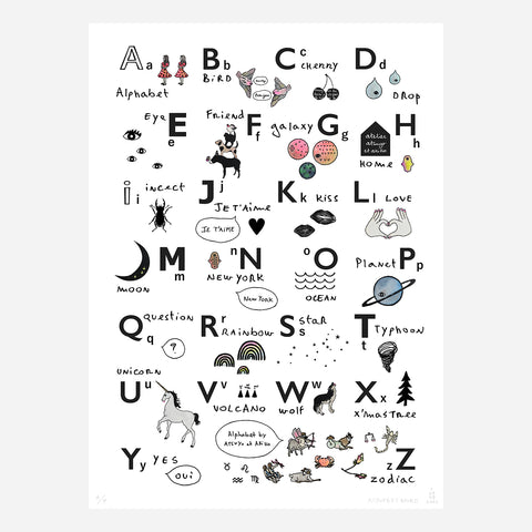 Alphabet Wall Art ( hand-colored )