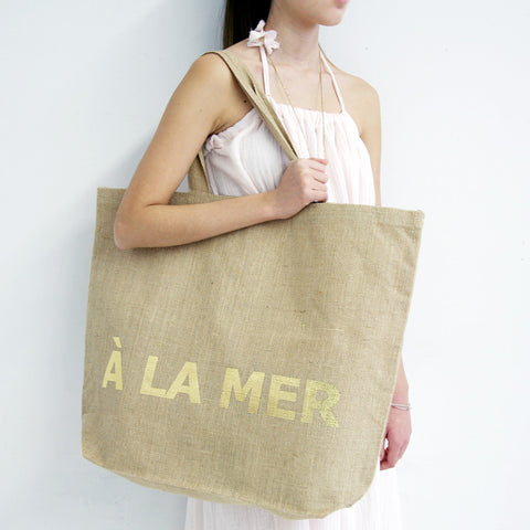 À La Mer Jute Beach Bag with Gold Foil - L