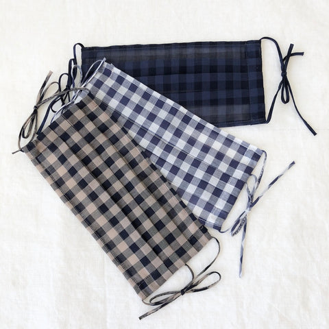Cotton Face Mask - Gingham - Adult size