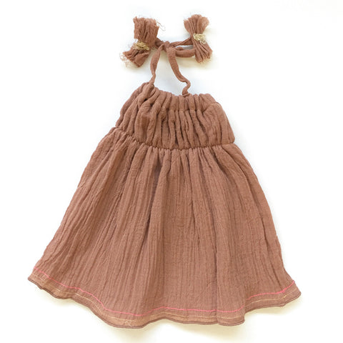 DOLL DRESS - BROWN
