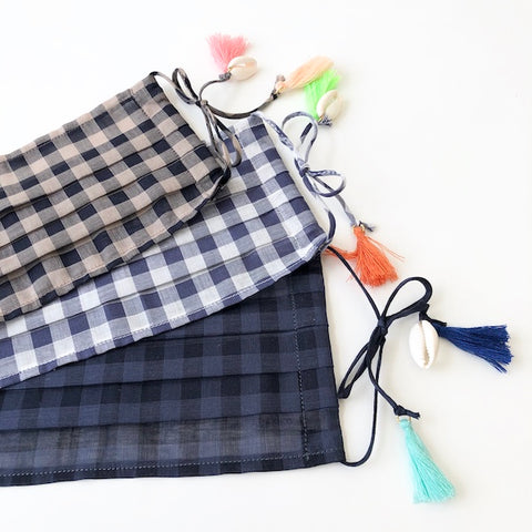 Cotton Face Mask - Gingham_Tassels - Adult size