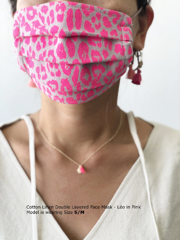 Cotton Linen Double Layered Face Mask - Léo in Pink 1