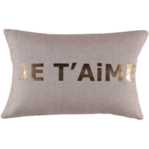 CUSHiON - LETTER - JE T'AiME GOLD FOiL ON COCONUT