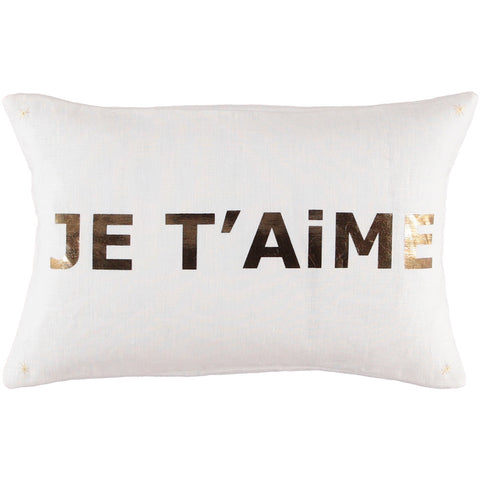 CUSHiON - LETTER - JE T'AiME GOLD FOiL ON MiLKY WHiTE