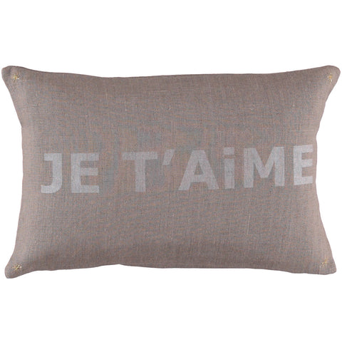 LETTER CUSHiON - JE T'AiME SiLVER WHiTE ON COCONUT