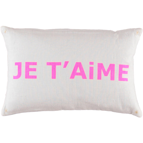CUSHiON - LETTER - JE T'AiME PiNK ON MiLKY WHiTE