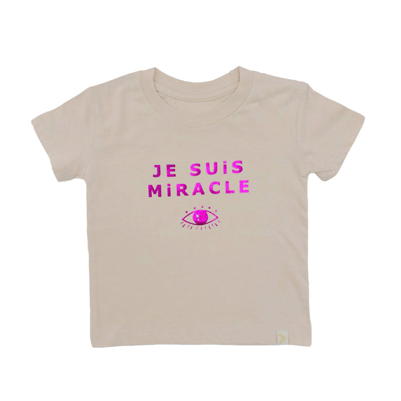 Crew Tee - Je Suis Miracle Pink Foil in Natural