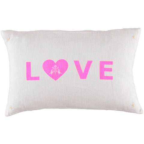 CUSHiON - LETTER - LOVE PiNK ON MiLKY WHiTE