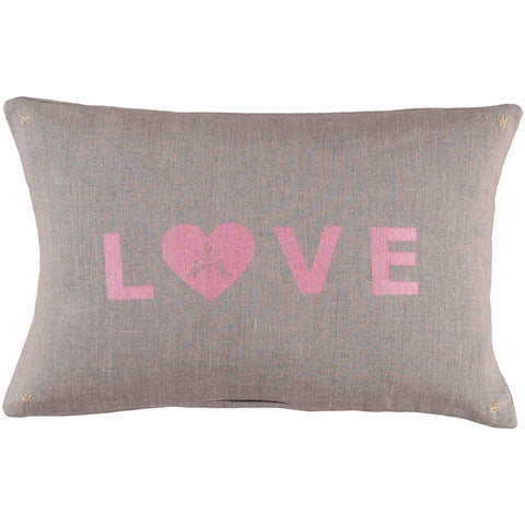 LETTER CUSHiON - LOVE SHiMMER PiNK ON COCONUT