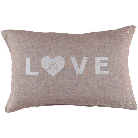 CUSHiON - LETTER - LOVE SiLVER WHiTE ON COCONUT