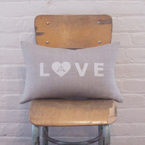 LETTER CUSHiON - LOVE SiLVER WHiTE ON COCONUT