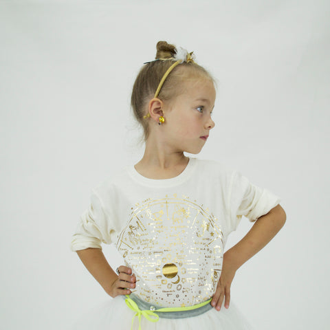 AA-The Wheel Of Life in Lara Long Sleeve Tee in Natural-Gold Foil