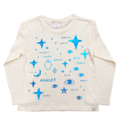 AA-Team Amulet in Lara Long Sleeve Tee in Natural - Blue Foil