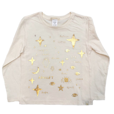 AA-Team Amulet in Lara Long Sleeve Tee in Natural - Gold Foil