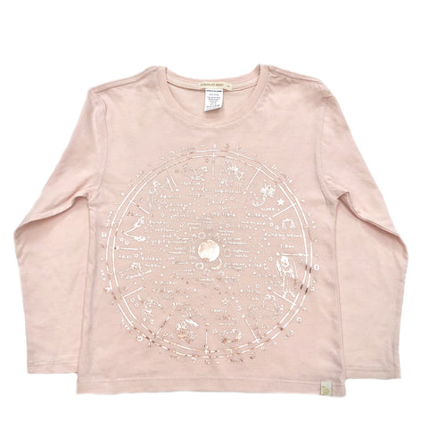AA-The Wheel Of Life in Lara Long Sleeve Tee in Pink-Rose Gold Foil