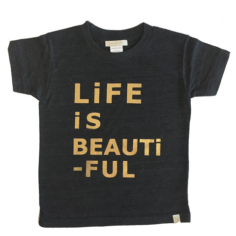 Tri Blend Tee - LiFE iS BEAUTiFUL in Charcoal