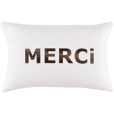 CUSHiON - LETTER - MERCi GOLD FOiL ON MiLKY WHiTE