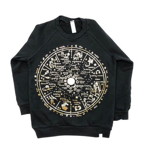 AA-The Wheel Of Life Fleece Long Sleeve Pullover in Black