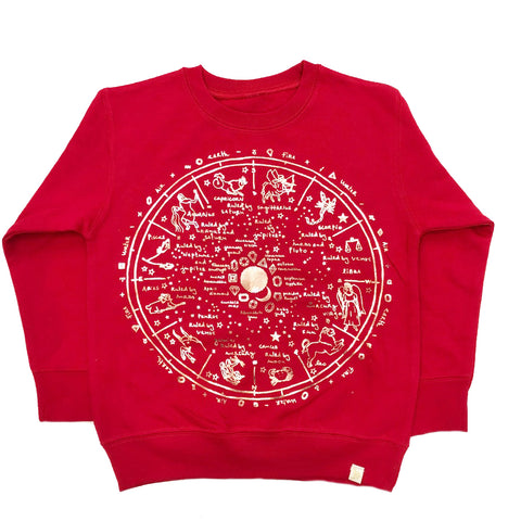 AA-The Wheel Of Life Fleece Long Sleeve Pullover in Red