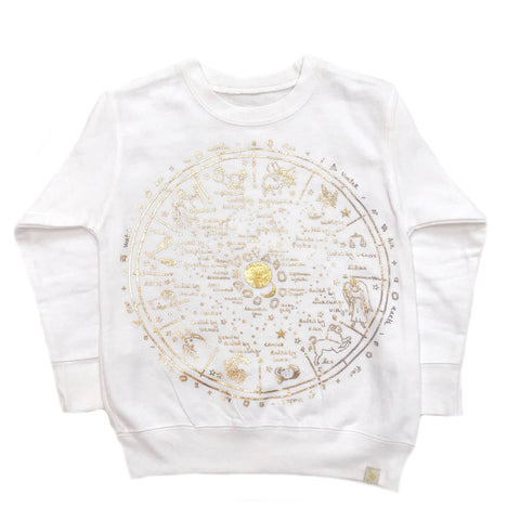 AA-The Wheel Of Life Fleece Long Sleeve Pullover in White