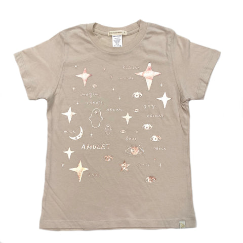 AA-Team Amulet in Natural Crew Tee - Rose Gold Foil