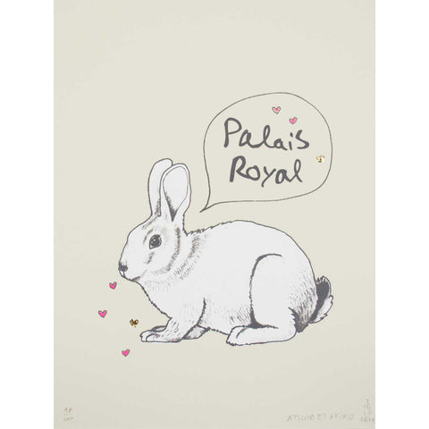 WALL ART - BUNNY with gold foil print