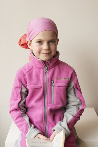Girls' Pink Chemo Cozy Fleece Jackets with PICC Line and Port Access for Pediatric Cancer Patients