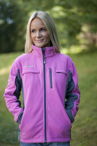 Women's Pink Chemo Cozy Fleece Jackets with PICC Line and Port Access for Cancer Patients