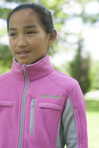 Girls' Pink Chemo Cozy Fleece Jackets with PICC Line and Port Access for Pediatric Cancer Chemotherapy Infusions