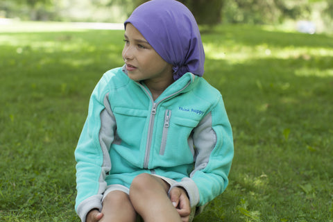 Girls' Teal Chemo Cozy Fleece Jackets with PICC Line and Port Access for Pediatric Cancer Patients undergoing Chemotherapy Infusions