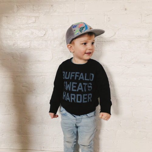 Toddler Size Buffalo Sweats Harder Crewneck - Black