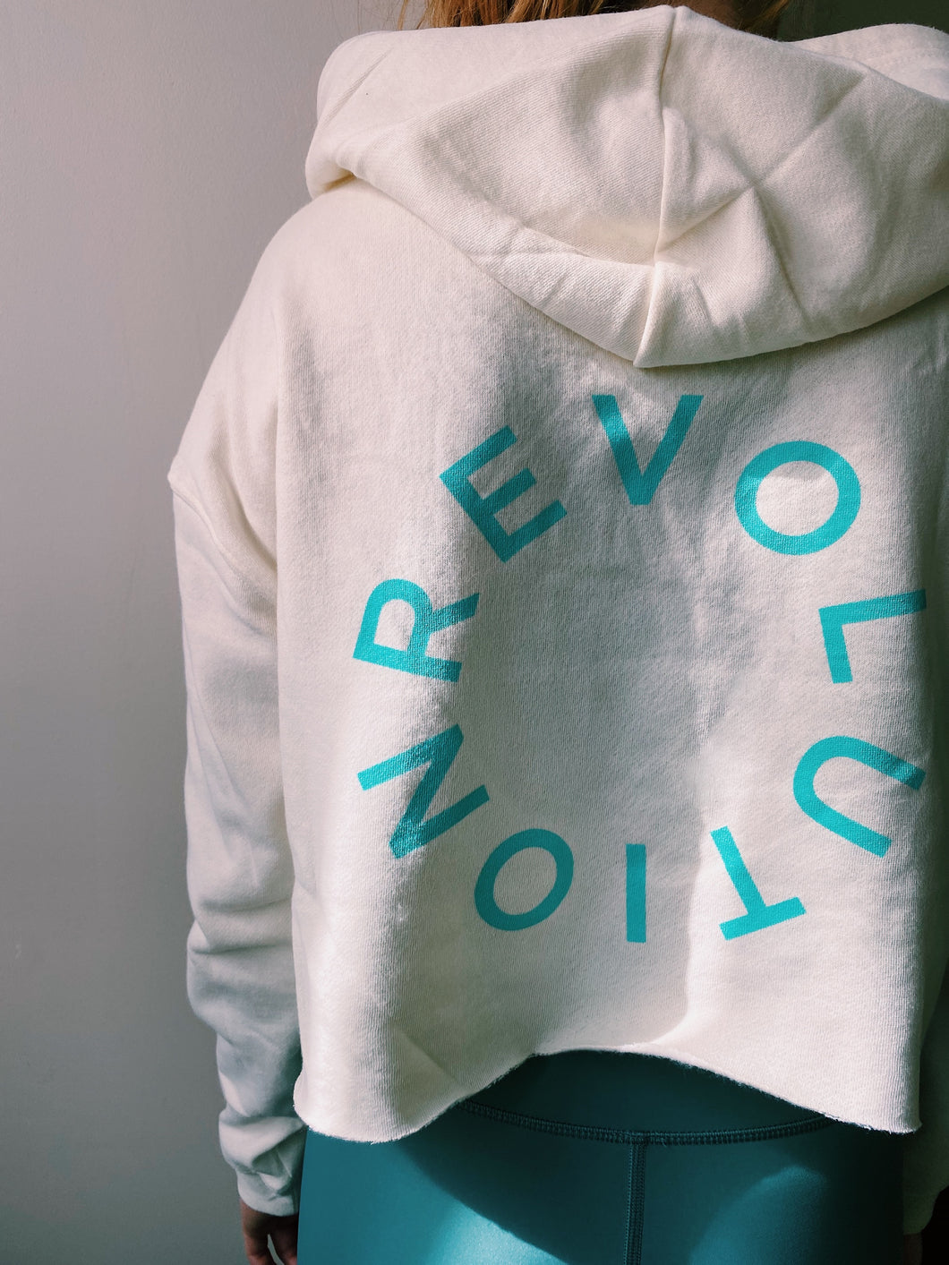 Revolution Logo Cropped Hoodie - Cream