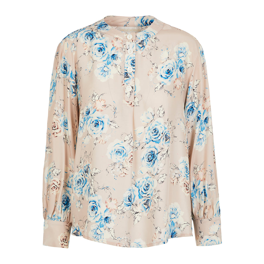 Poet Blouse in Pink Floral Silk.