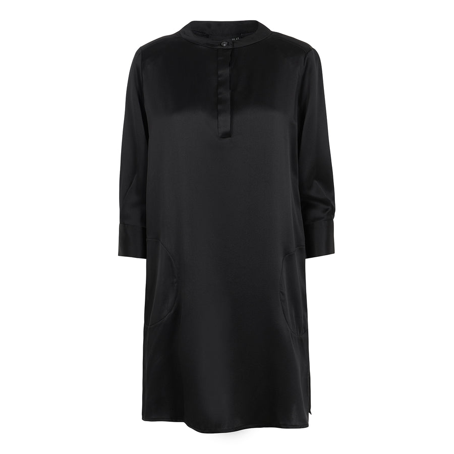 Silk Shirt Dress in Black