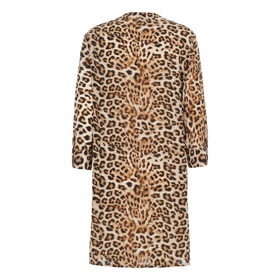 Silk Shirt Dress in Leopard.