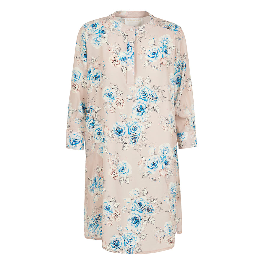 Silk Shirt Dress in Pink Floral.