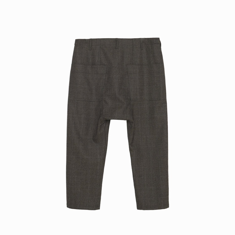 Maverick Drop Crotch Pant in Camel Plaid
