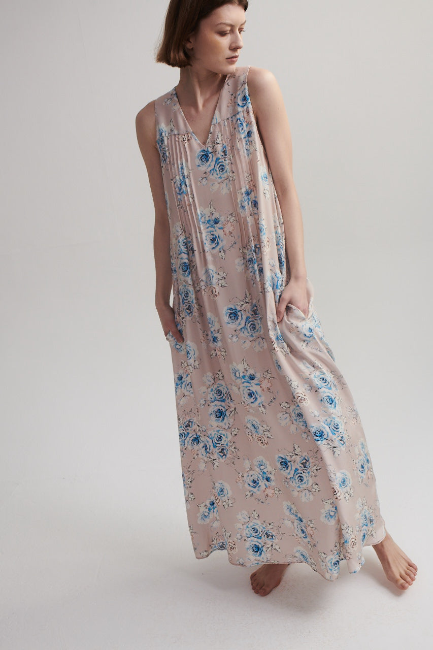 Maxi Dress in Pink Floral Silk