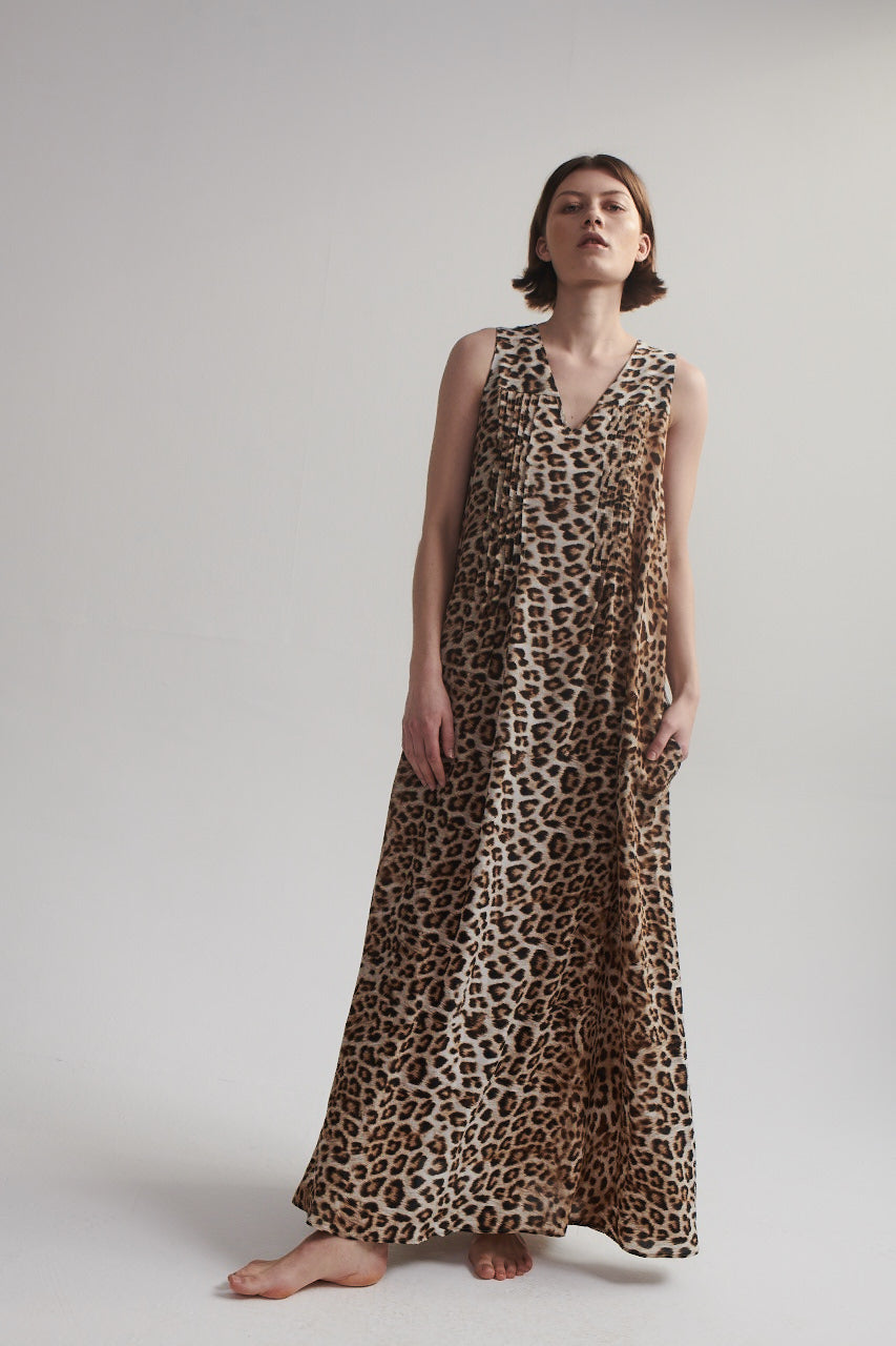Maxi Dress in Leopard Silk.