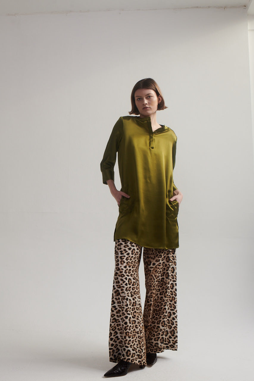 Silk Shirt Dress in Chartreuse.